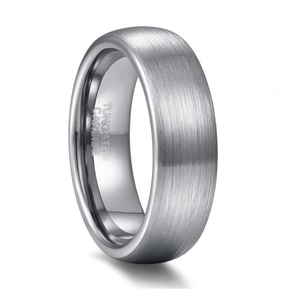Domed Brushed White Tungsten Rings