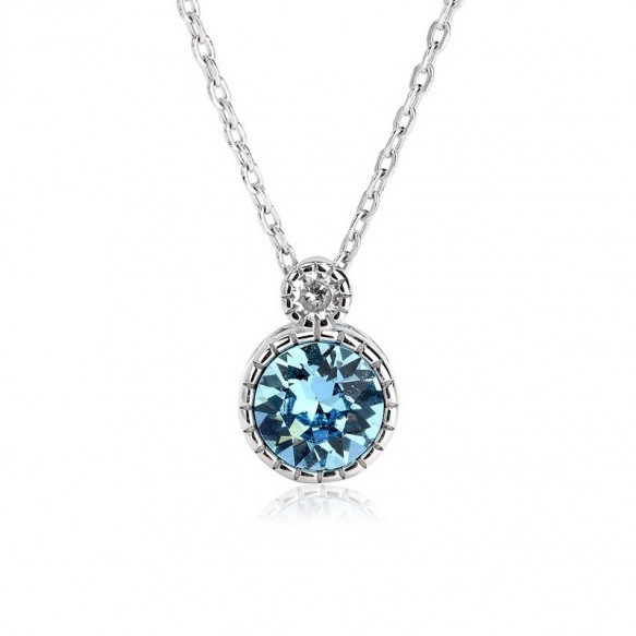 Sterling Silver Fantasy Blue Crystal Blue Diamond Pendant