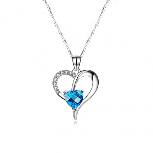 925 Sterling Silver Heart-shaped Necklace with Swarovski Crystal Element