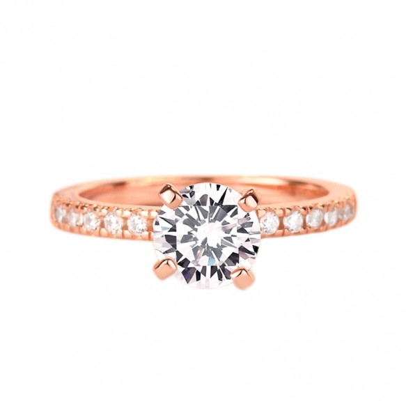 Rose Gold/Silver Round Cut Sterling Silver Rings With Swarovski Crystal