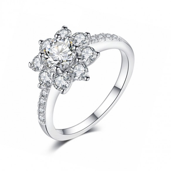 FFlower Ring Sona Diamond in Sterling Silver