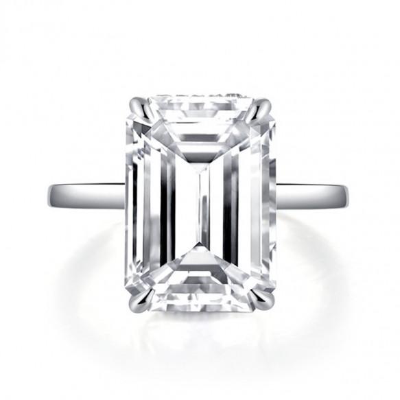 Emerald Cut Sona Solitaire Diamond Rings