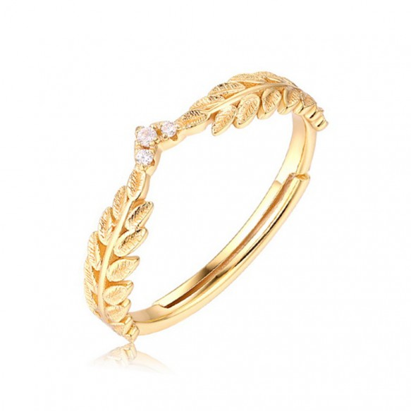 Olive Branch Sterling Silver Rings Gold Plated