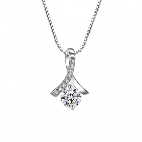 Sterling Silver Human Shaped Diamond Necklace/Pendant