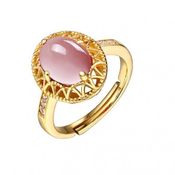 Pink Crystal Rings Adjustable in Sterling Silver