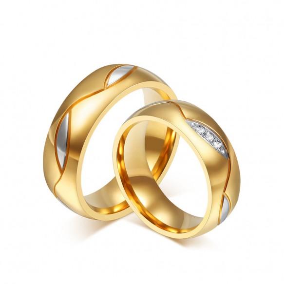 Classic Gold Titanium Steel Rings