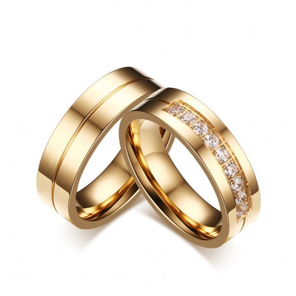 Gold Titanium Steel CZ Couple Rings