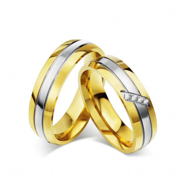 High Polished Gold Titanium Steel Rings