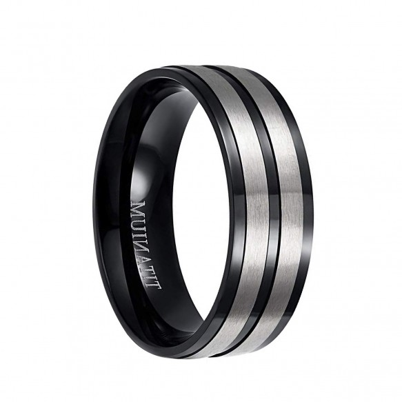 Black and Silver Wedding Bands in Titanium