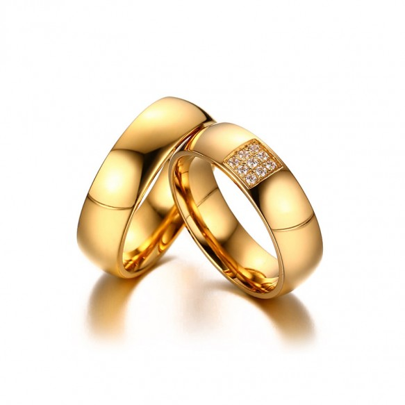 Simple Gold Couples in Titanium Steel