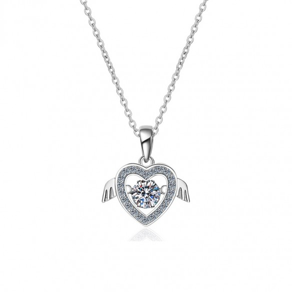 S925 Sterling Silver Flying Heart 0.5ct Moissanite Necklace