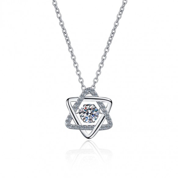 S925 Sterling Silver 0.5ct Moissanite Six-pointed Star Necklace