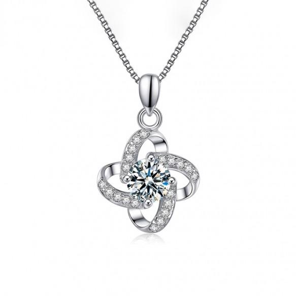 S999 Sterling Silver Swarovski Crystal Four-leaf Clover Necklace