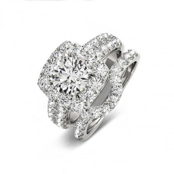 Round Cut Sona Diamond Rings in Sterling Silver