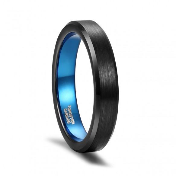 Brushed Tungsten Rings Blue and Black