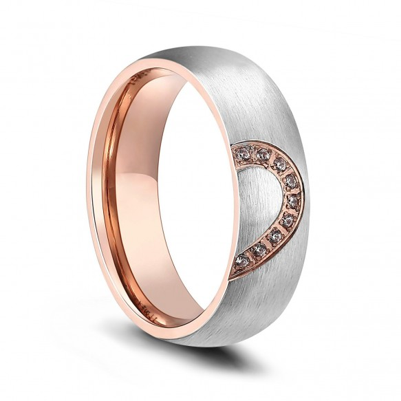 Half Heart Rose Gold Titanium Rings