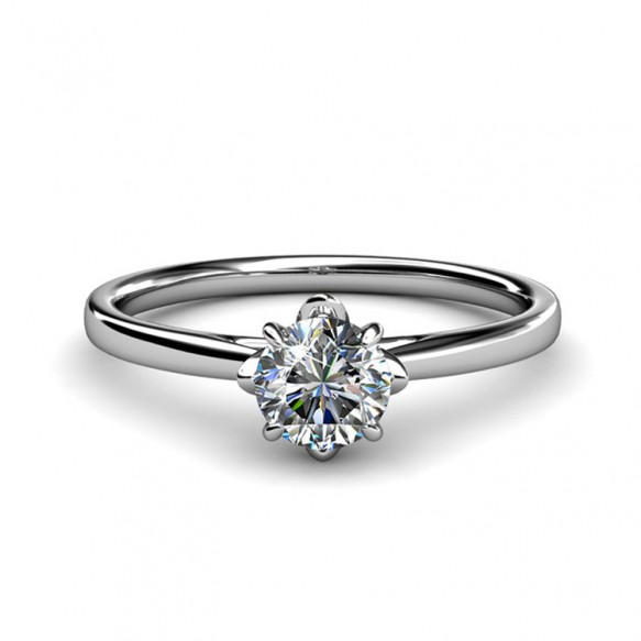 Solitaire Engagement Rings Sterling Silver Embellished with Crystals from Swarovski