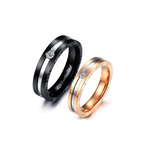 Black and Rose Gold Titanium Steel Couple Rings
