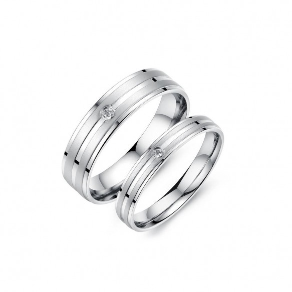 Flat Silver Couple Rings in Titanium Steel