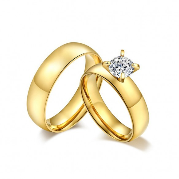 Gold Couple Promise Rings in Titanium Steel