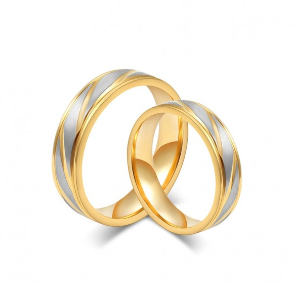 Silver and Gold Titanium Steel Couple Rings