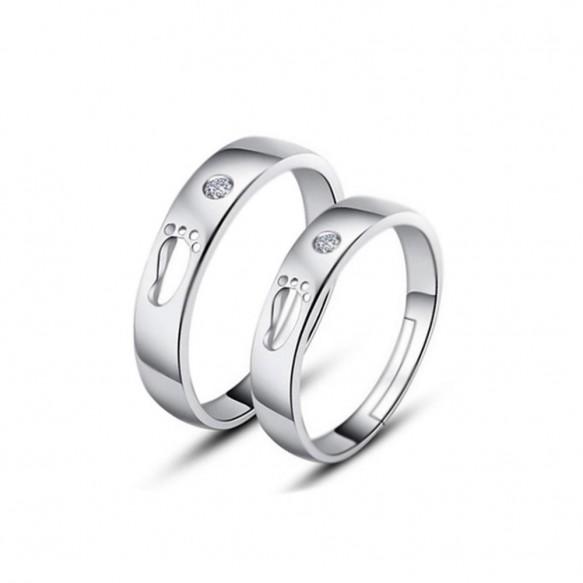 Footprint Couple Rings in Sterling Silver