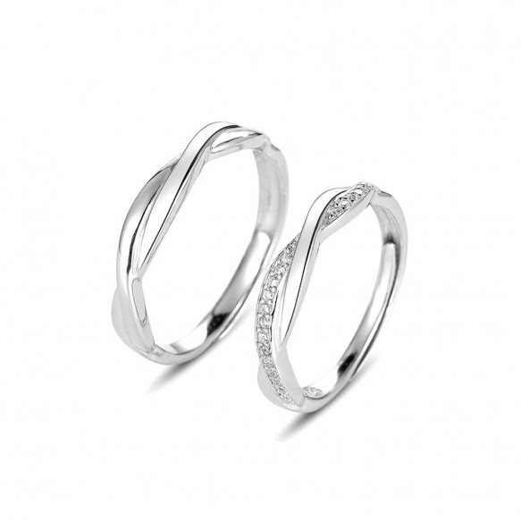 Infinity Couple Rings in Sterling Silver