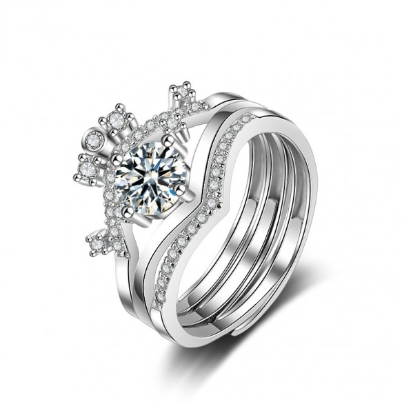 Princess Crown Stackable Rings Set in Sterling Silver (Default)