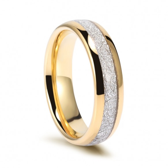 Gold Tungsten Meteorite Bands