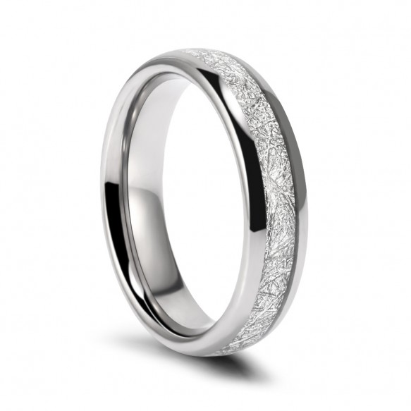 Meteorite Silver Domed Ring in Tungsten