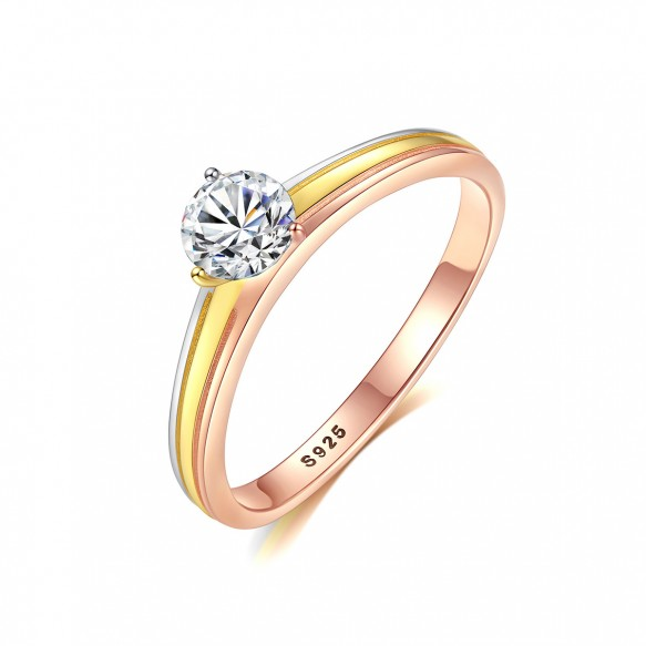 CZ Halo Sterling Silver Ring Tricolor