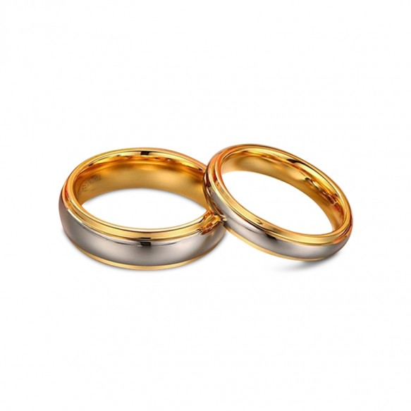 Simple Silver and Gold Tungsten Couple Rings