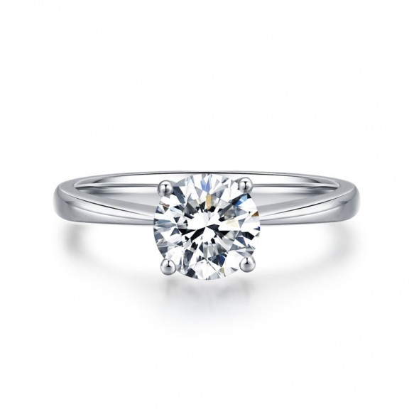 Sterling Silver Sona Diamond Ring Classic Design