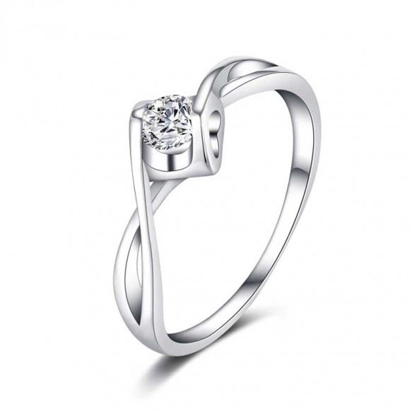 2019 New Sona Diamond Platinum Plated Engagement Rings in 925 Sterling Silver