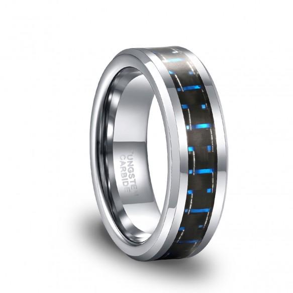 Carbon Fiber Inlay High Polish Tungsten Band