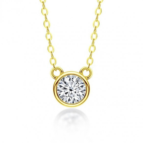 Classic Round Cut 1.0ct Moissanite Diamond Pendant Necklace for Women 925 Sterling Silver