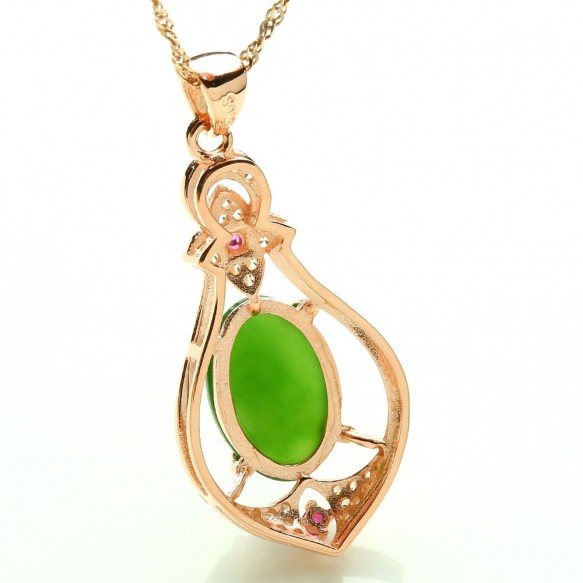 Fashion Women Sterling Silver Rose Gold Plated Inlaid Jade Jasper Necklace Pendant Jewelry