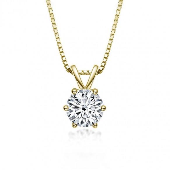 Classic Round Cut 1.0 Carat Moissanite Diamond Pendant Necklace 925 Sterling Silver
