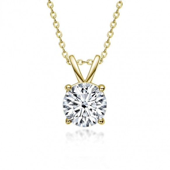 Four Claw Round Cut 1.0ct Moissanite Diamond Pendant Necklace for Women 925 Sterling Silver