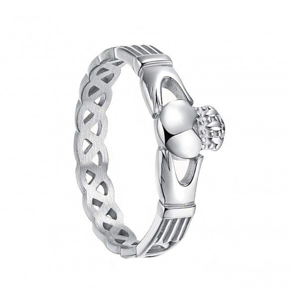 Celtic Knot Crown Titanium Steel Promise Rings