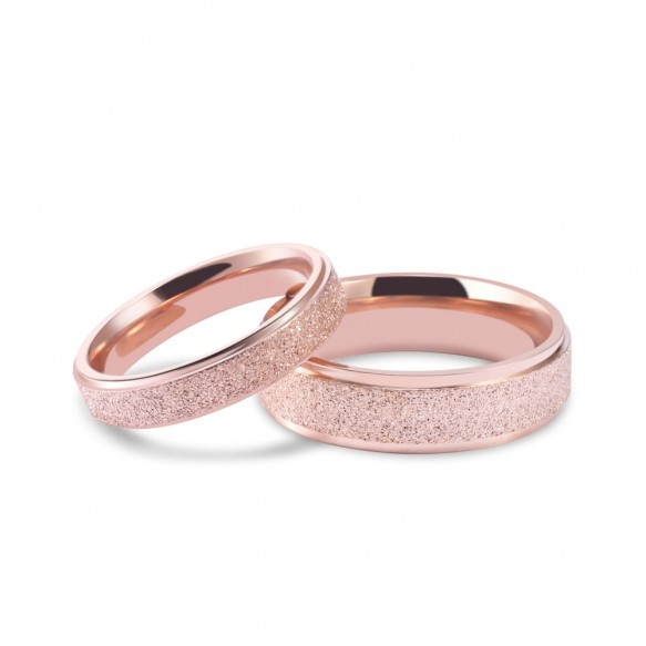 Matte Rose Gold Couple Rings in Titanium Steel