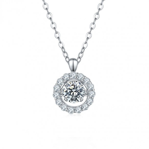 1.0 Carat Moissanite Diamond Pendant Necklace For Women 925 Sterling Silver Flower Shaped