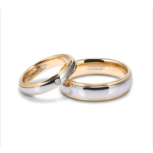 Tungsten Couple Rings Gold and Silver