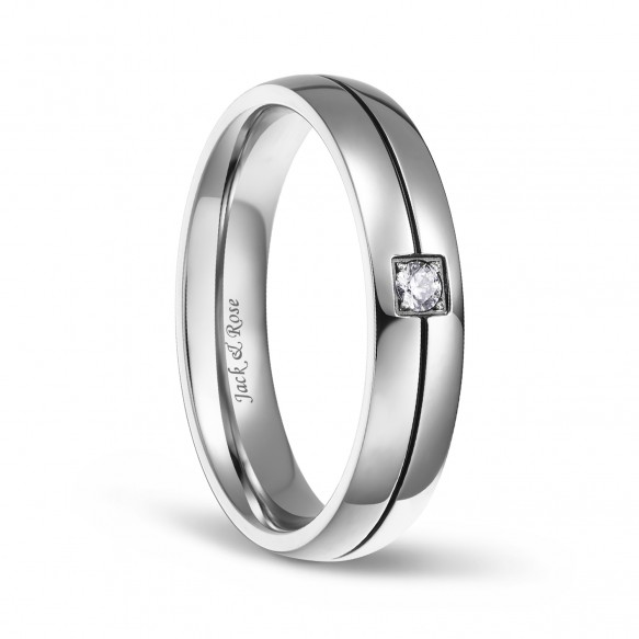 Silver CZ Wedding Band in Titanium
