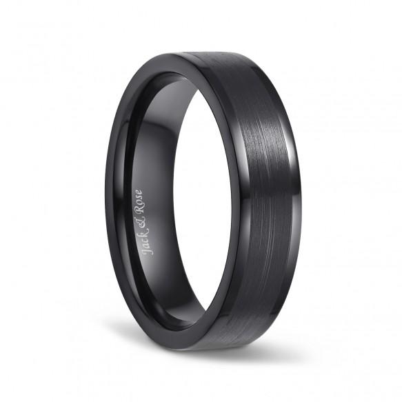 Black Flat Brushed Titanium Rings