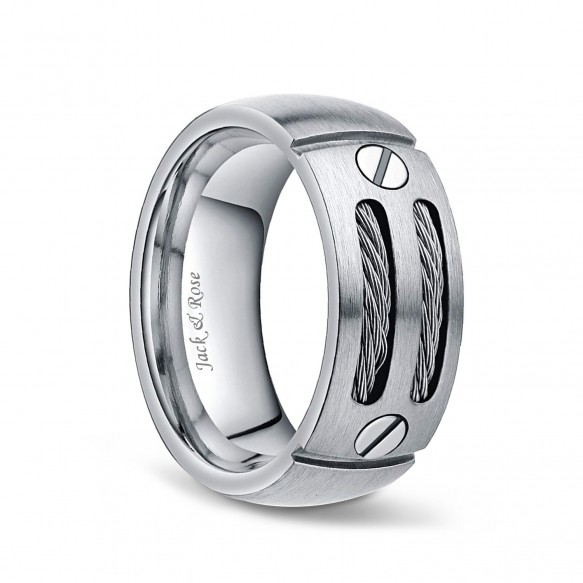 Silver and Black Cable Titanium Ring