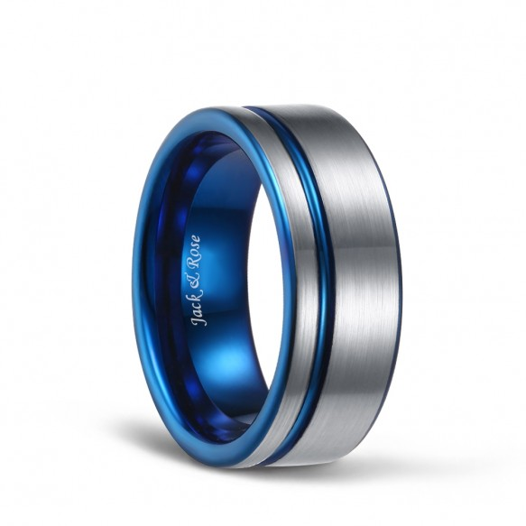 White and Blue Brushed Tungsten Rings