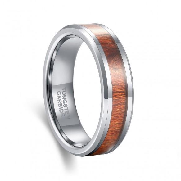 Koa Wood Silver Tungsten Carbide Ring