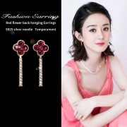 Four Leaf Clover Full Diamond Garland Personality Two Wear Earrings