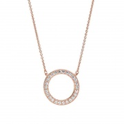 Rose Gold Circle CZ Necklace